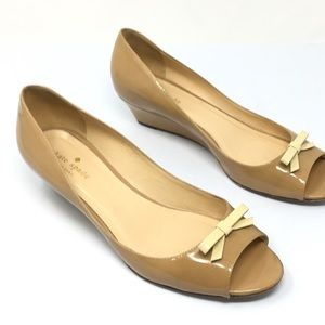Kate Spade Nude Patent Leather Bow Wedges Flats
